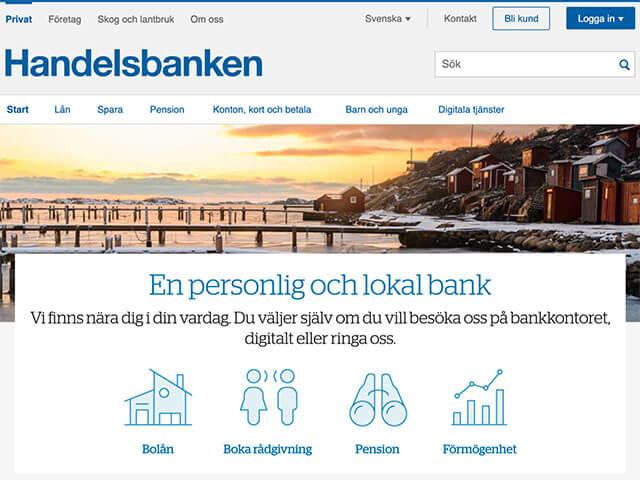 Skärmdump Handelsbanken hemsida