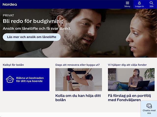Skärmdump Nordea hemsida - lån med direkt utbetalning