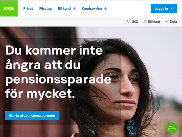 Skärmdump SEB hemsida