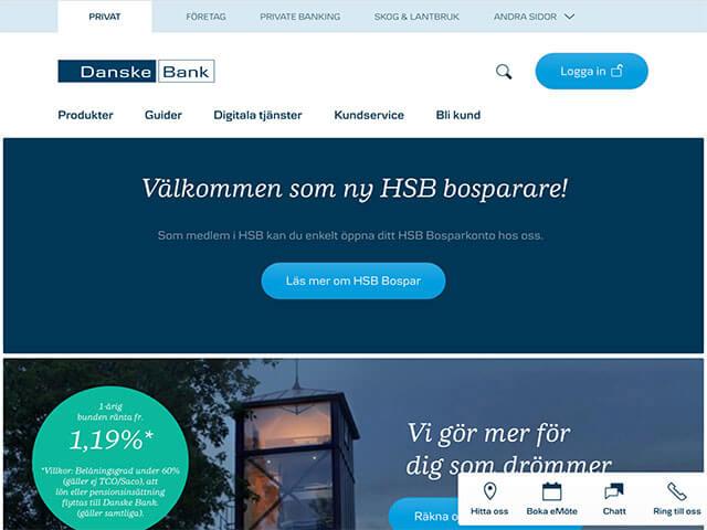 skärmdump Danske bank hemsida